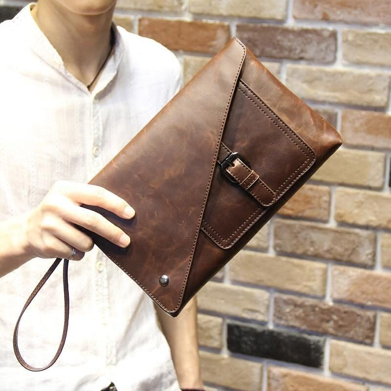 Retro Cowhide Leather Handbag for Men Classic Strap Hasp Design Envelope Bag Leisure Clutch Business Phone