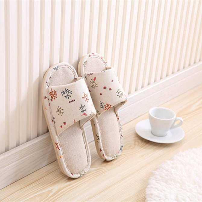 RHS Online Wanita Pria Anti-selip Lucu Linen Rumah Sandal Dalam Ruangan Terbuka Ujung Kaki Sepatu Lenan-Internasional
