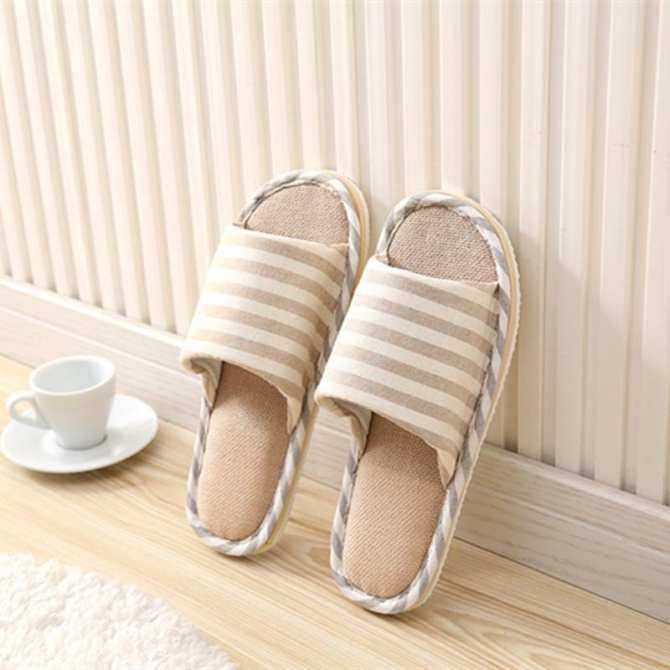 RHS Online Wanita Pria Anti-Slip Linen Garis Sandal Dalam Ruangan Rumah Jemari Terbuka Musim Panas Sepatu Rami