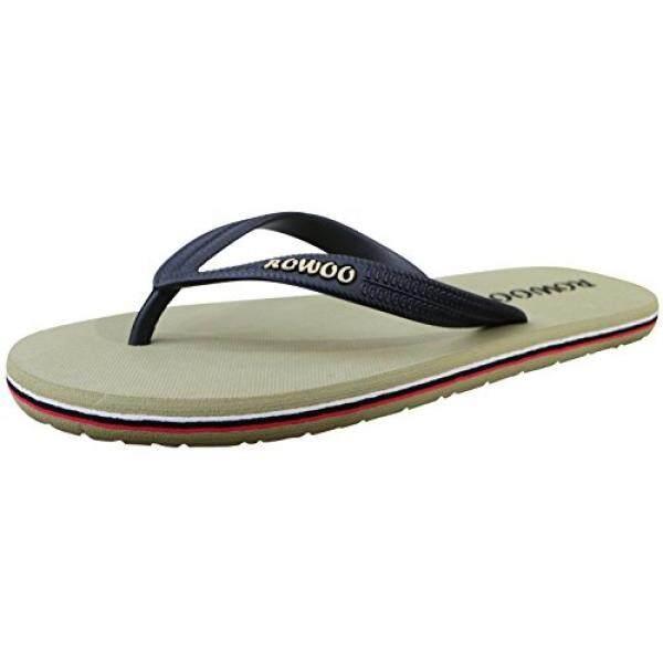 86b0376f ROWOO ROWOO Mens Beach Flat Rubber Sandals Flip Flops (US10/43EU, Green)