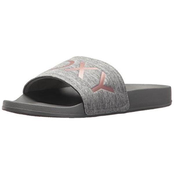Roxy Womens Slippy Textile Slide Sport Sandal, Grey, 6 M US - intl