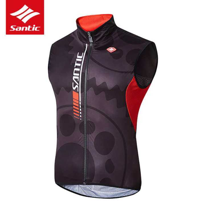 Santic Men Pro Waistcoat Cycling Vest Windproof Sleeveless Jacket Spring Autumn Anti-UV Breathable Cycling Jersey Sportswear Running Bike Bicycle Clothing