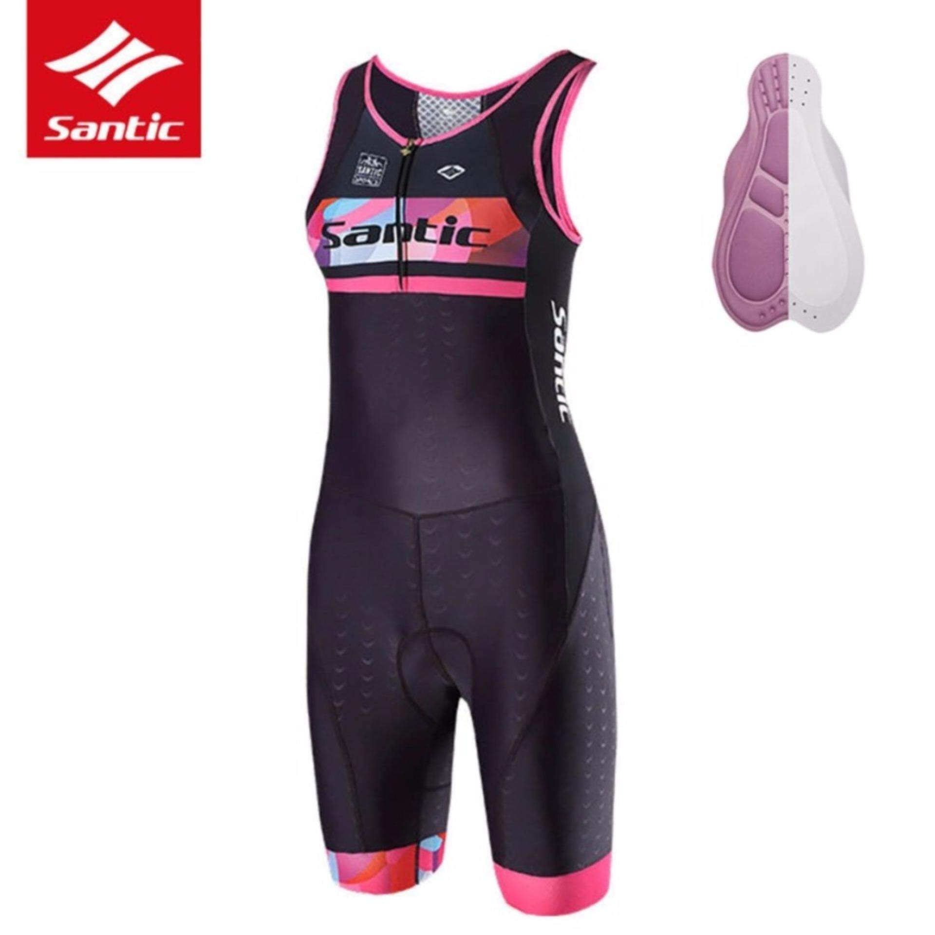 Santic Women's Pro Breathable Triathlon One-piece Sleeve Cycling Jersey Special Cushion Anti-UV Quick Dry Cycling Clothing Skinsuit Bicycle Bike Jersey