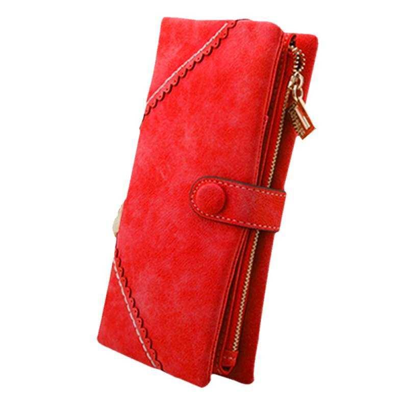 HHS86JUS Sanwood Wanita Dompet Kulit Tombol Lipat Dua Dompet Merah Tas Tangan Wanita Panjang Clutch Dompet