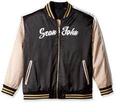 Sean John Men's Big and Tall Satin Bomber Jacket, PM Black, 4XL
