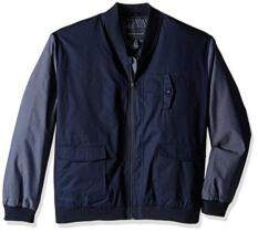 Sean John Men's Big and Tall Two-Tone Bomber Jacket, Navy, 4XL