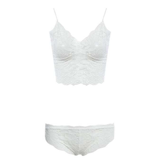 9e5044bbdc Sexy V-neck Suspender Perspective Lace Patchwork Bra + Low Elastic Waist  Briefs Hollow Out