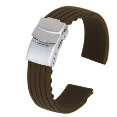 Silicone Rubber Watch Strap Deployment Buckle 20mm Coffee Malaysia