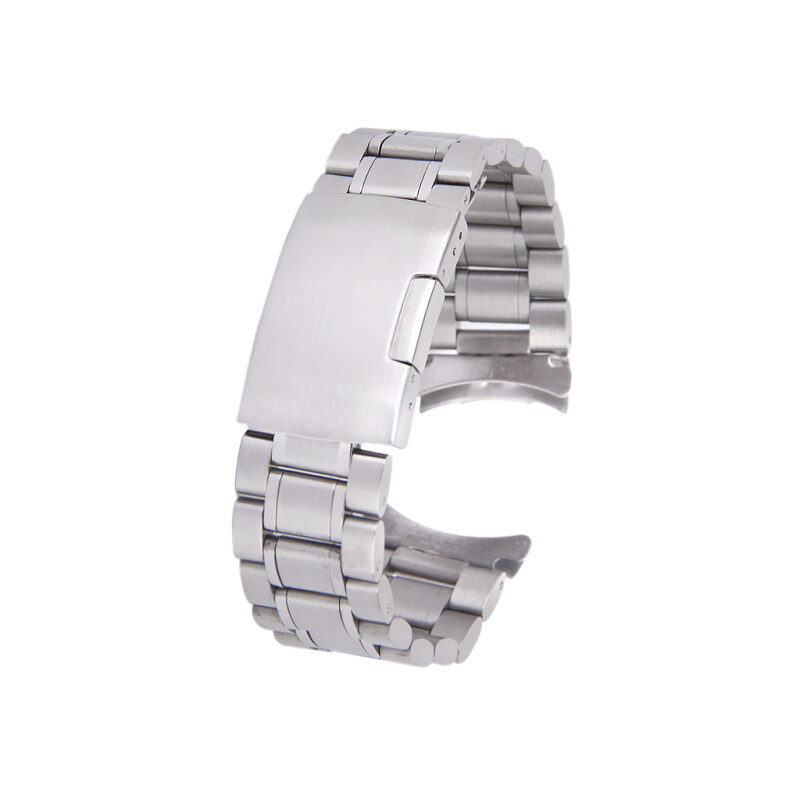 Silver Solid Stainless Steel Links Watch Band Strap Curved End Deployment Buckle 22 mm Malaysia