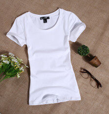 Women's Korean style Slim fit Round Neck Short Sleeves T-Shirt (White) (