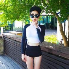 Phong Cách Hàn Quốc 2 Bộ Đồ Bơi Nữ Cao Cấp Thời Trang Dài Tay Mặt Trời-Chống Miếng Dán Cường Lực Bơi Có Miếng Lót Không Dây