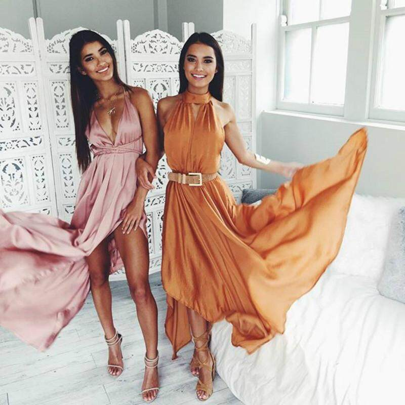 Slip Satin Backless Long Dress Women Pajamas Summer Dress Evening Party Elegant Black Maxi Dresses Vestidos - intl