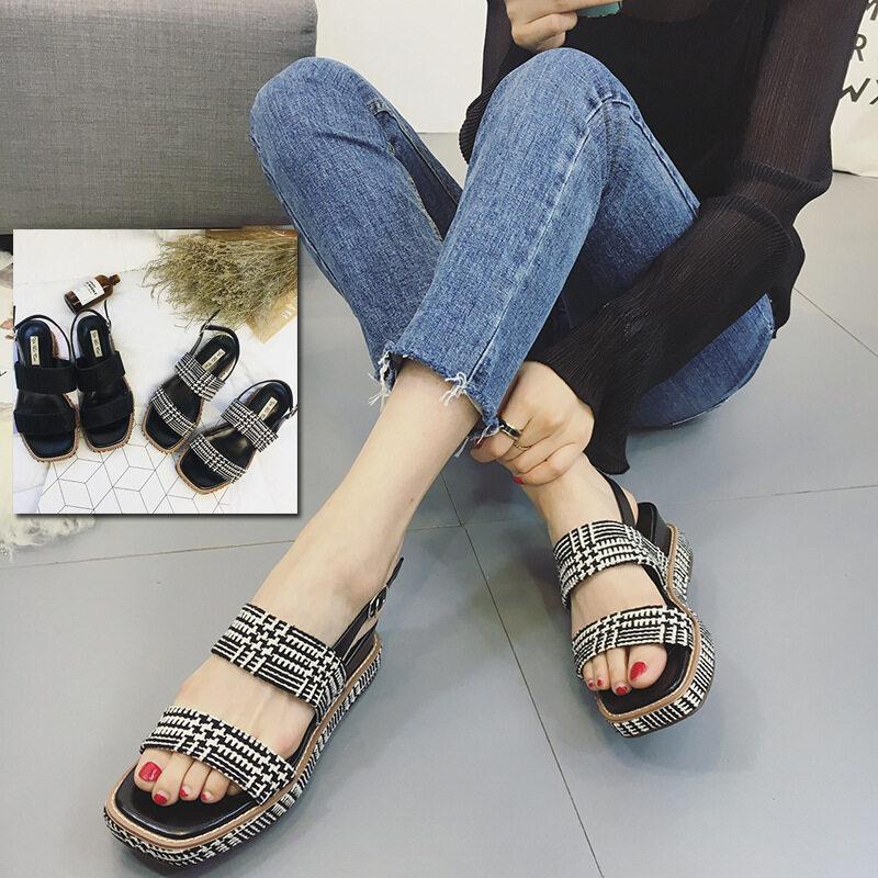Lereng dengan Sandal Wanita Musim Panas 2017 Baru Liar Tinggi Sepatu dengan Hak Tebal Alas Kue Muffin Ribuan Burung Grid Kasual Sepatu Wanita (Hitam)-Intl
