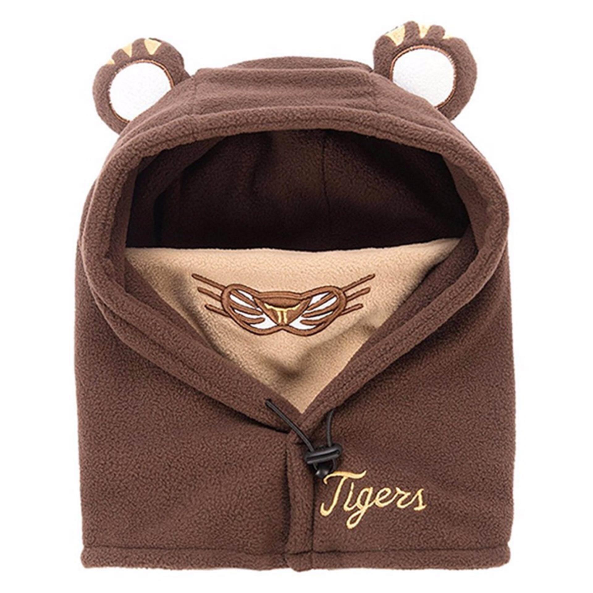 Smile YKK Children Baby Winter Ear Cap Hooded Head Tiger Neck Warm Hat Coffee - intl