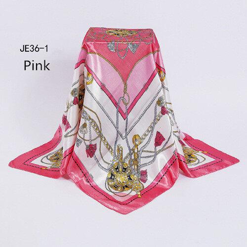 Ular Mencetak Multicolor Bunga Satin Selendang Persegi Jilbab 90*90 Cm Musim Dingin Wanita Selendang