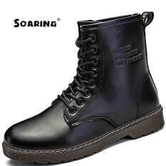 Soaring 2017 New Mens Leather Martin Boots Motorcycle Men Strap Short Fur  Barrel Fashion Leather Black dd19ca7d2a