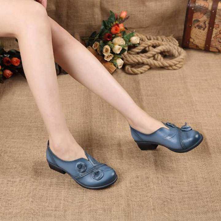 Men/Women Socofy Fashion Flower Retro Mid Heel Original Original Original Folkways Handmade Women Boat Loafers Shoes  Good Young Goods f34af1