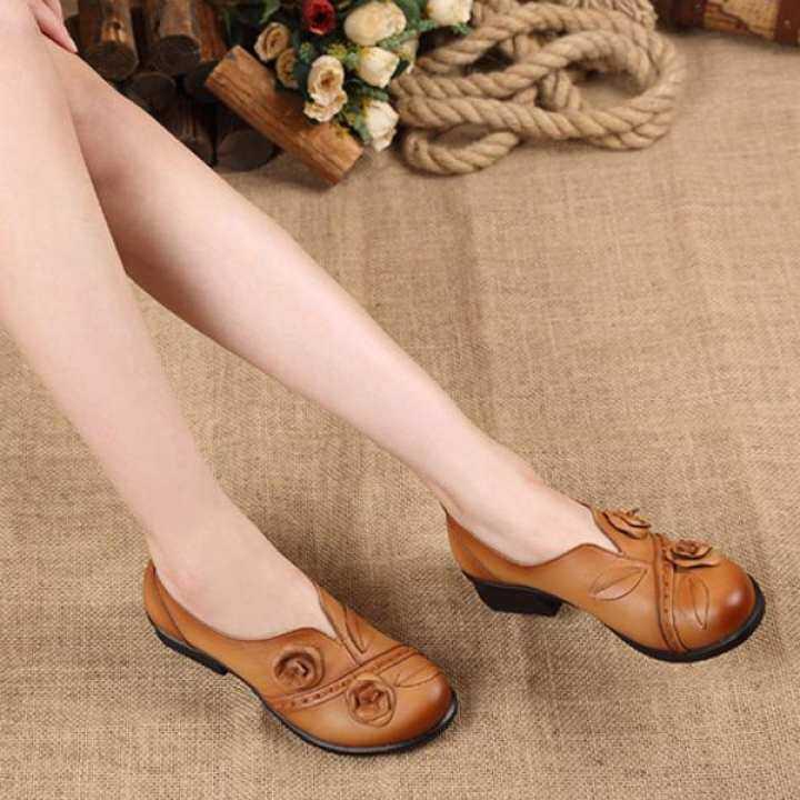 Men's/Women's:Socofy Fashion Flower Retro Mid Heel Original Folkways Handmade Women Women Women Boat Loafers Shoes : Have good goods 64134a