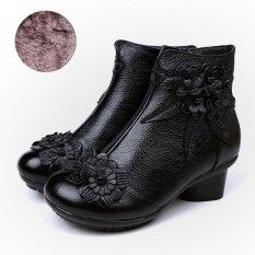 Socofy Fashion Retro Ankle Handmade Floral Zipper Soft Leather Women Winter Boots By Five Star Store.