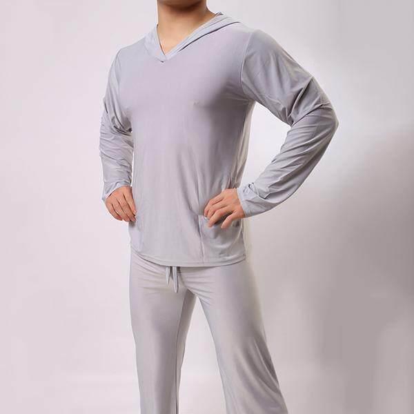 Beli sekarang Lembut Halus Nyaman Kasual Home Elastis Longgar Tipis Warna Solid Pria Berkerudung Pakaian Tidur Yoga Atasan Abu-abu terbaik murah - Hanya ...
