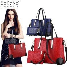 236201e7ab46ec (RAYA 2019) SoKaNo Trendz SKN806 Faux Crocodile PU Leather Tote Bag Set of 2