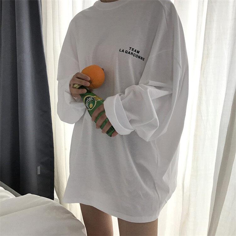 Korea Selatan Ulzzang Membeli Warna Longgar Lengan Panjang Blus, Wanita Pakaian Musim Gugur, Baru Pecinta, Kaus, kemeja Bawah, Siswa-Internasional
