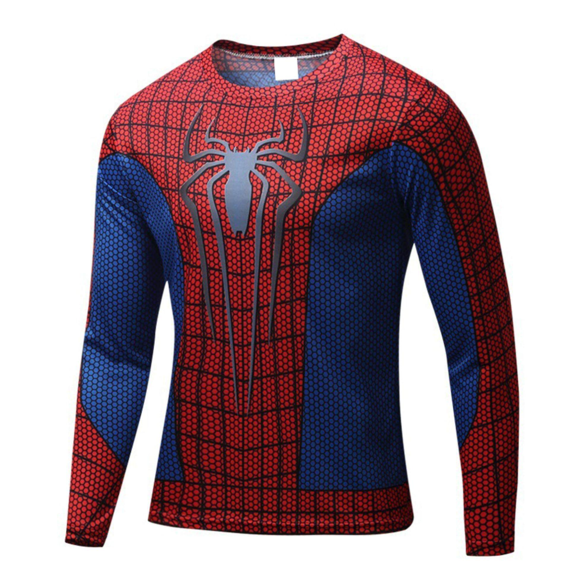 Best Spider Man Avengers Long Sleeve O Neck Unisex Hero Outdoor Sports T Shirts Intl