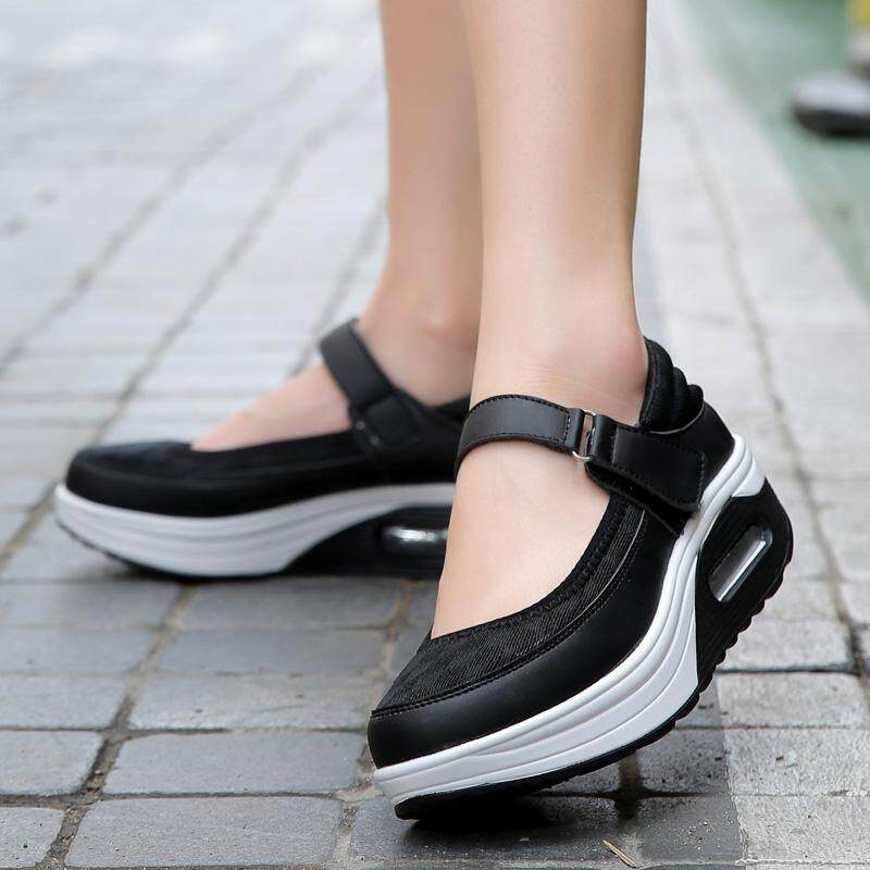 e1a53604ac40 Spring And Autumn Leather Nice Women Shoes Platform Wedges Shaking  Increased Shoes High Heels Casual Fashion