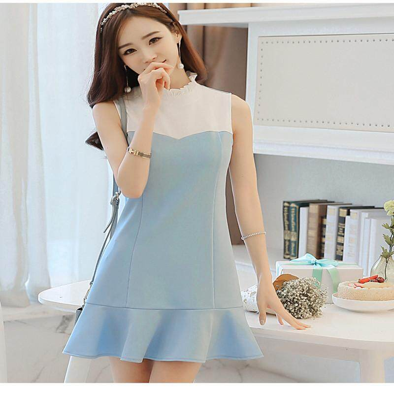 Spring and Summer New Style Korean-style Women's Sleeveless Stitching Slim Fit