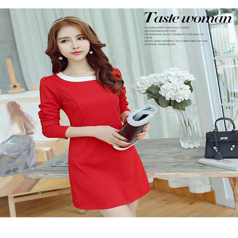 Spring and Summer New Style Women's Slim Fit Stitching Knit Dress Fashion Plus