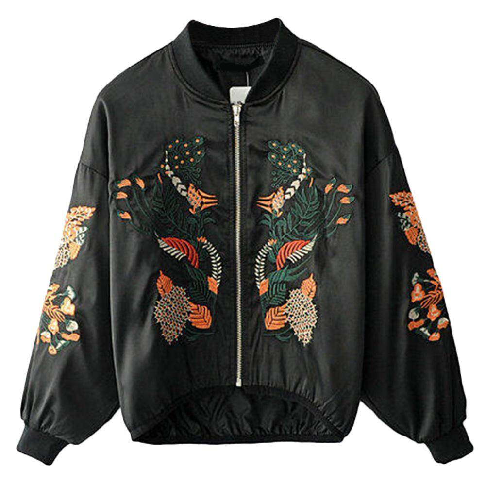 Spring Autumn Fashion Women Floral Embroidery Bomber Jacket Stand Collar Long Sleeve Female Jacke Outerwear
