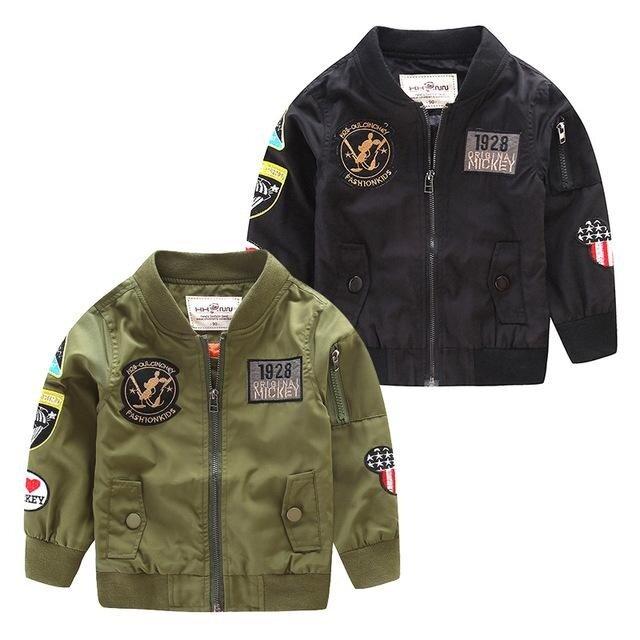 Musim Semi Musim Gugur Jaket untuk Anak Laki-laki Mantel Bomber Jaket Hijau Tentara Anak Laki-laki Windbreaker Musim Dingin Jaket Anak-anak Jaket Anak-Internasional