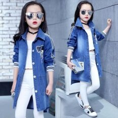 Spring Clothing Jeans Coat For Girls Denim Jackets Cartoon Children Outerwear Kid Active Autumn Clothes Teenager Long Trench Top By Blue Crystal.