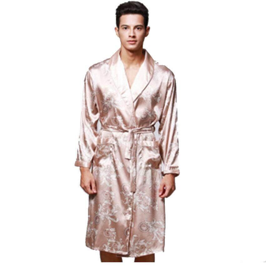 Musim Semi Musim Panas Lengan Panjang Cetak V-neck Satin Sutra Jubah Pria Jubah Mandi Baju Tidur Rumah Casul Baju Pasangan (CAMEL) -Intl