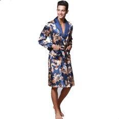 Musim Semi Musim Panas Lengan Panjang Cetak V-neck Satin Sutra Jubah Pria Jubah Mandi Baju Tidur Rumah Casul Baju Pasangan (Navy)