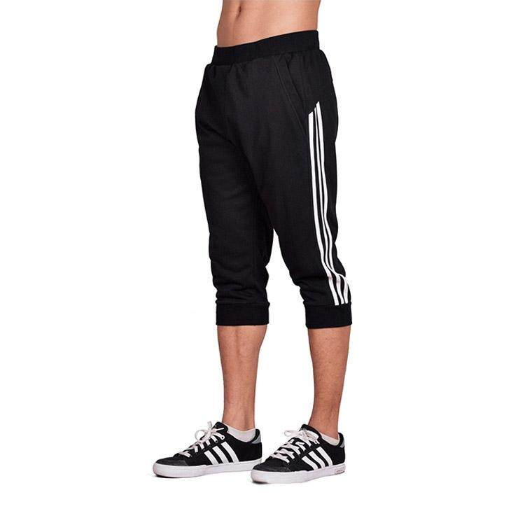 Best Spring Summer Men Sport Pants Capris Running Fitness Workout Jogger Pocket Pants 3 4 Athletic Sweatpant Trousers Cotton Black White Intl