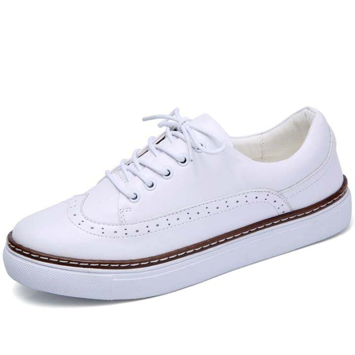 Man's/Woman's Spring/Summer Spring/Summer Spring/Summer 2017 New Real Leather White Shoe Ladies Suture Line Is Wearing Engli Style Comfortable Casual Shoes  Wholesale c8374d
