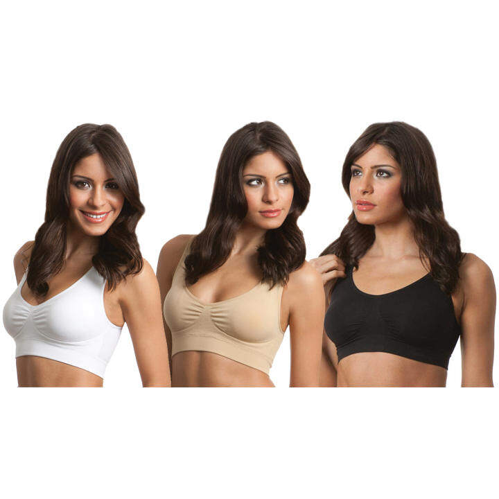 Standard Set of 3 Yoga Sports Bras with Removable Bra Pads