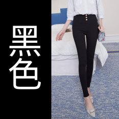 Lunap Women's High Waist Skinny Stretch Full Length Pants- Black (Black) (Black