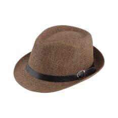 Topi Jerami Bergaya Musim Panas Topi Topi Fedora Hat Topi Panama Trilby Jazz Coklat