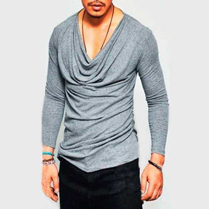 209c3db85c6e Stylish Men Long Sleeve Shirt V-Neck Slim Fit Irregular Solid Casual Tee  Tops Grey