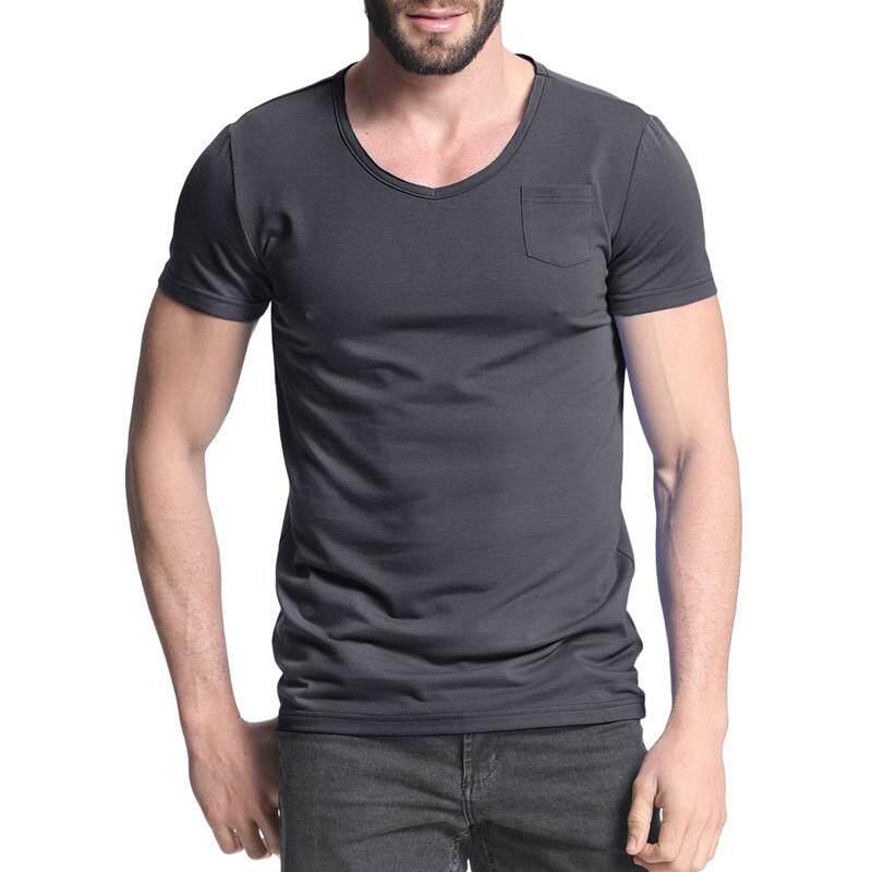 Gaya Kasual Slim Fit Summer Lengan Pendek Saku Polos T Shirt TEE Tops Gelap Abu-