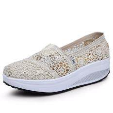 Summer Breathable Lace Casual Wedge Shoes Fashion High Quality Platform Women Shoes (beige) By Liz Fashion Store.
