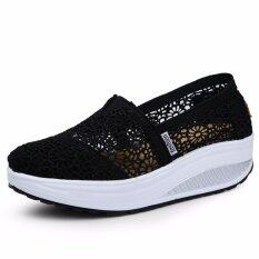 Summer Breathable Lace Casual Wedge Shoes Fashion High Quality Platform Women Shoes (black) By Liz Fashion Store.