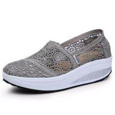 Summer Breathable Lace Casual Wedge Shoes Fashion High Quality Platform Women Shoes (grey) By Liz Fashion Store.