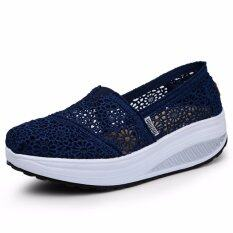 Summer Breathable Lace Casual Wedge Shoes Fashion High Quality Platform Women Shoes (navy Blue) By Liz Fashion Store.
