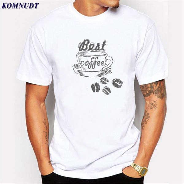 Musim Panas Hot Penjualan Kopi dan Biji Kopi Pria T-shirt Fashion T Baju Batik Atasan Lucu Putih Berlengan Pendek-Intl