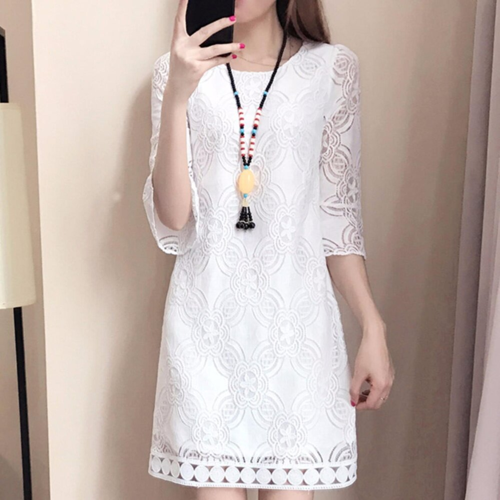 Jojo Summer Korean Women Elegant Midi Long Knee Length Floral Lace Dress O Neck Hollow Out Seamless Lace Top Half Sleeve Straight Casual Fashion