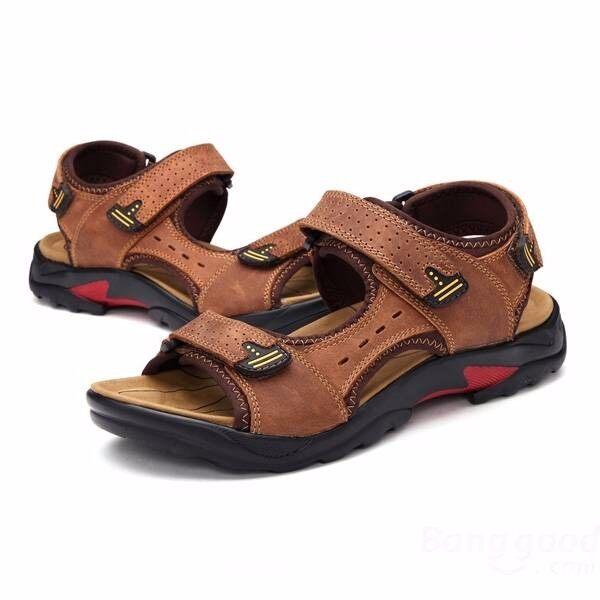 Musim Panas Sandal Kulit Pria Kulit Bernapas Sandal Gunung Sepatu Pantai Sepatu Ukuran Besar-Intl