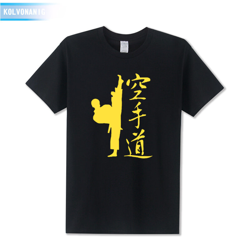 Summer New Karate Printed T Shirt Cotton Short Sleeve O Neck Men S Sportswear Kongfu T Shirt Plus Size Top Tees Black 02 Intl Compare Prices